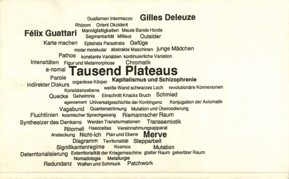 One of the first known word clouds. Gilles Deleuze, Felix Guattari (1992). Tausend Plateaus.